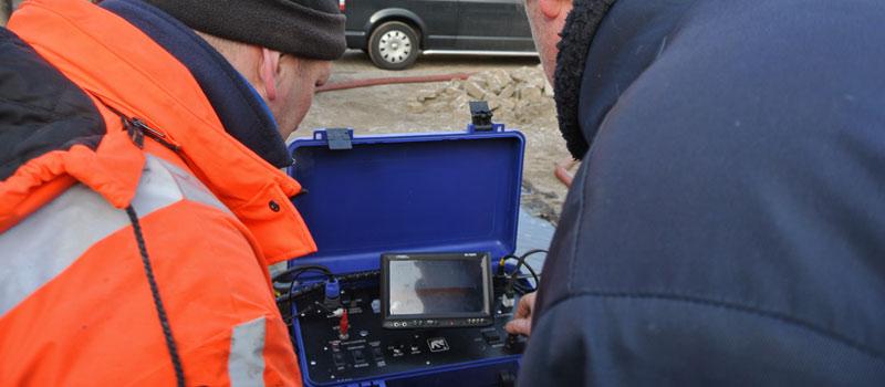 Camera-inspectie pompput voor het vaststellen van de verstopping van de filterspleten. En voor na-controle.